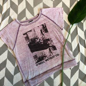 O'NEILL-Short Sleeved Pink Fleece Top- Size Medium